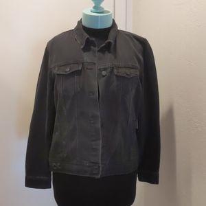 Distressed faded black denim jacket